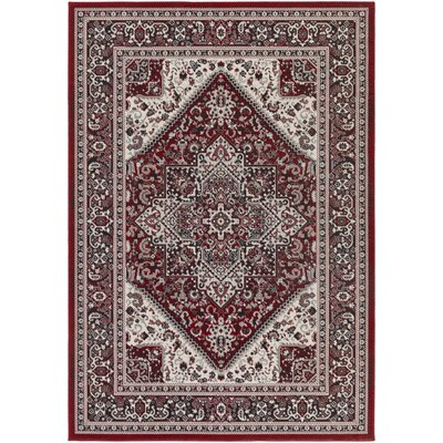 Pickerel Crimson Red/Onyx Black Area Rug Rug Size: Rectangle 22 x 3