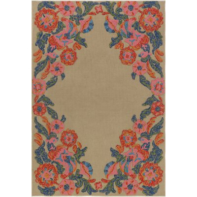 Mayan Polo Hand-Tufted Carnation Pink / Navy Blue Indoor/Outdoor Area Rug Rug Size: 4 x 6