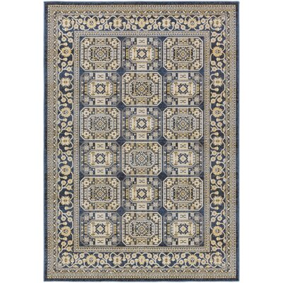 Keeton Navy Blue/Light Yellow Area Rug Rug Size: Rectangle 53 x 76