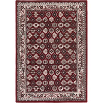 Bernhard Crimson Red / Ivory Area Rug Rug Size: Rectangle 53 x 76