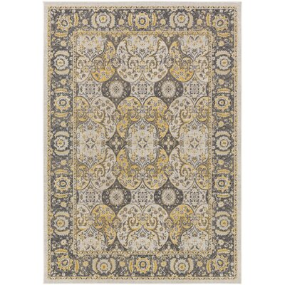 Roosevelt Alto Light Yellow / Charcoal Area Rug Rug Size: 53 x 76