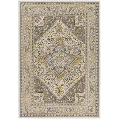 Pickerel Light Yellow/Gray Area Rug Rug Size: Rectangle 53 x 76