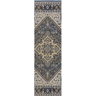 Pickerel Royal Blue/Light Yellow Area Rug Rug Size: Runner 28 x 8