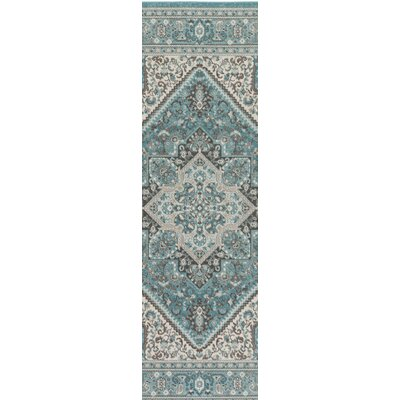 Pickerel Turquoise/Ivory Area Rug Rug Size: Runner 28 x 8