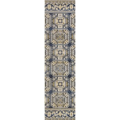 Keeton Navy Blue/Light Yellow Area Rug Rug Size: Runner 28 x 8