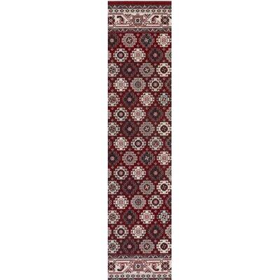 Bernhard Crimson Red / Ivory Area Rug Rug Size: Runner 28 x 8