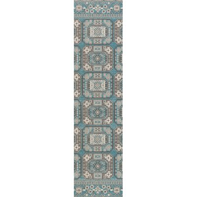 Keeton Turquoise/Gray Area Rug Rug Size: Runner 28 x 8