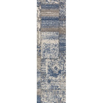 Kimes Denim Blue / Ivory Area Rug Rug Size: Runner 28 x 8
