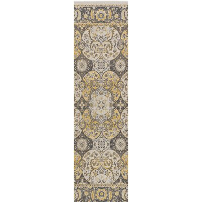 Eberly Light Yellow/Charcoal Area Rug Rug Size: Runner 28 x 8