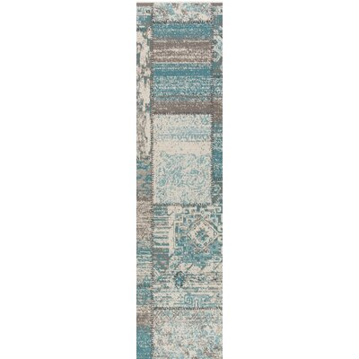 Kimes Turquoise / Ivory Area Rug Rug Size: Runner 2'8