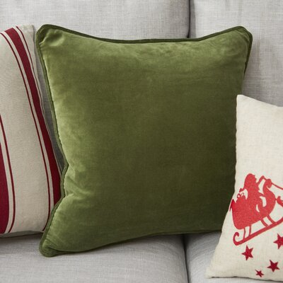 Baylie Square Cotton Velvet Pillow Cover Color: Green