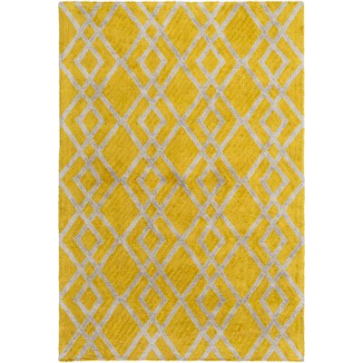 Bradt Hand-Tufted Yellow Area Rug Rug Size: Round 6