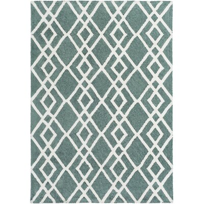 Bradt Hand-Tufted Teal Area Rug Rug Size: Rectangle 76 x 96