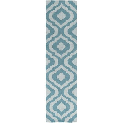 Impression Whitney Hand-Tufted Teal Area Rug Rug Size: Runner 2 x 8
