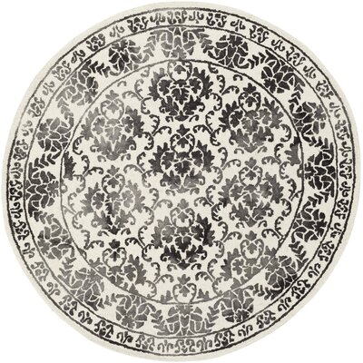 Kiernan Hand Tufted Charcoal/Off-White Area Rug Rug Size: Round 6
