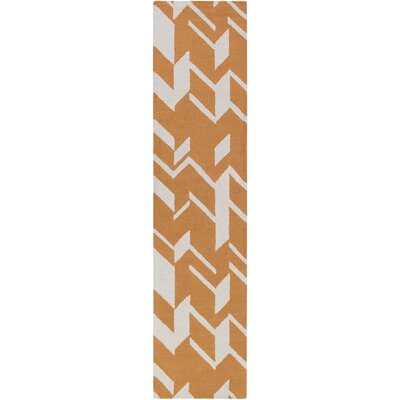Youmans Hand-Crafted Orange/White Area Rug Rug Size: Runner 23 x 10