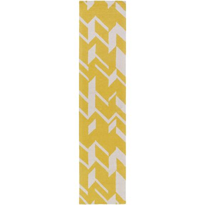 Youmans Hand-Crafted Yellow/White Area Rug Rug Size: Rectangle 8 x 11