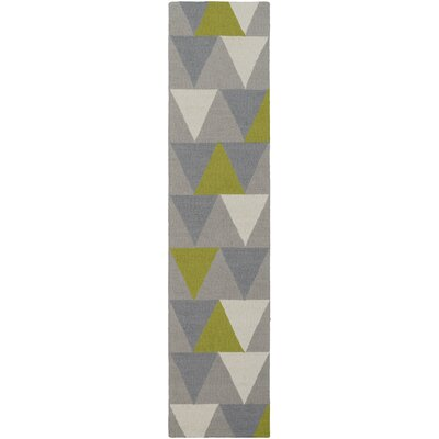 Younts Hand-Crafted Lime/Gray Area Rug Rug Size: Rectangle 76 x 96