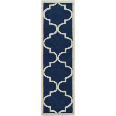 Daubert Hand-Tufted Navy/Ivory Area Rug Rug Size: Runner 23 x 8
