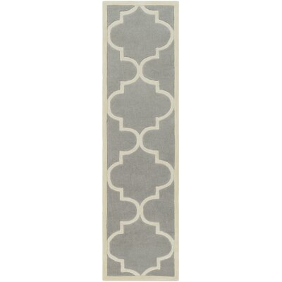 Daubert Hand-Tufted Gray/Ivory Area Rug Rug Size: Runner 23 x 8