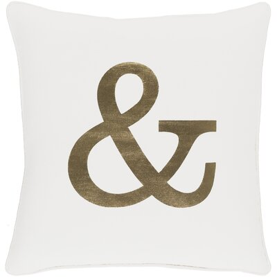 Carnell Ampersand Cotton Throw Pillow Color: White/ Metallic Gold