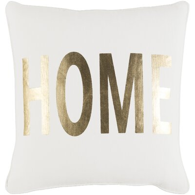 Carnell Home Cotton Throw Pillow Color: White/ Metallic Gold