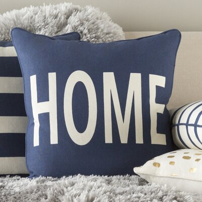 Carnell Home Cotton Throw Pillow Color: Navy/ White