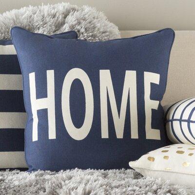 Glyph Home Cotton Throw Pillow Color: Navy/ White