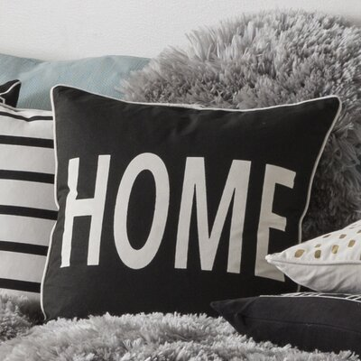 Glyph Home Cotton Throw Pillow Color: Black/ White