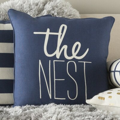 Carnell The Nest Cotton Throw Pillow Cover Color: Navy/ White
