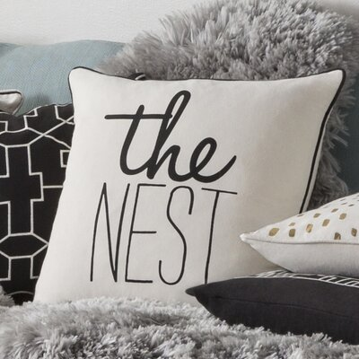 Glyph The Nest Cotton Throw Pillow Cover Color: White/ Black