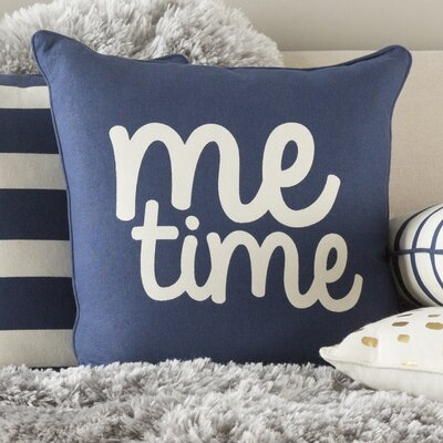 Carnell Square Cotton Throw Pillow Color: Navy/ White