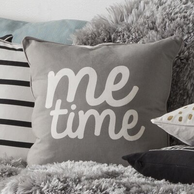 Carnell Square Cotton Throw Pillow Color: Gray/ White
