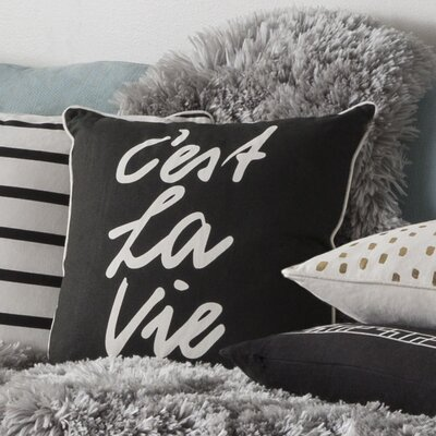 Glyph C'est La Vie Cotton Throw Pillow Color: Black/ White