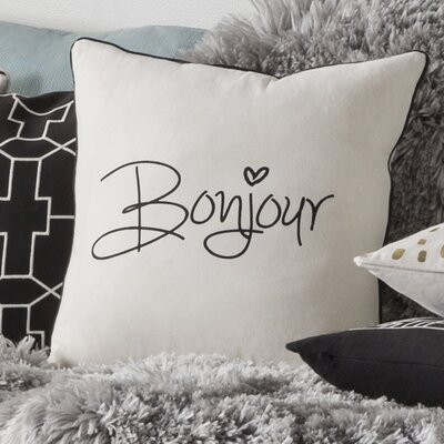 Carnell Contemporary Square Cotton Throw Pillow Color: White/ Black