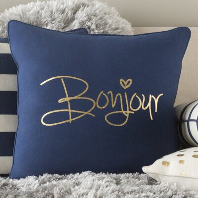 Carnell Contemporary Square Cotton Throw Pillow Color: Navy/ Metallic Gold