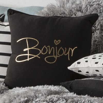 Carnell Contemporary Square Cotton Throw Pillow Color: Black/ Metallic Gold