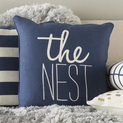 Glyph The Nest Cotton Throw Pillow Color: Navy/ White