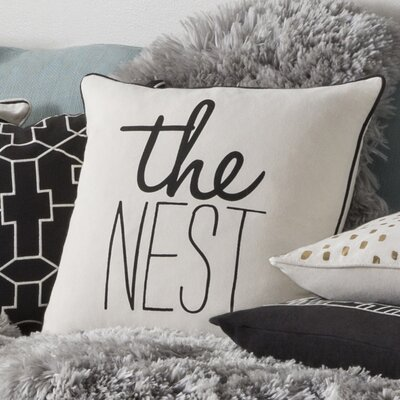 Glyph The Nest Cotton Throw Pillow Color: White/ Black