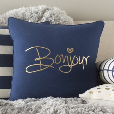 Carnell Bonjour Cotton Throw Pillow Cover Color: Navy/ Metallic Gold