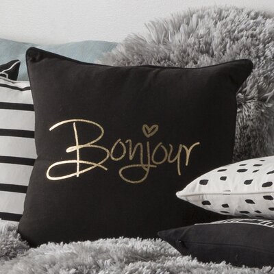 Carnell Bonjour Cotton Throw Pillow Cover Color: Black/ Metallic Gold