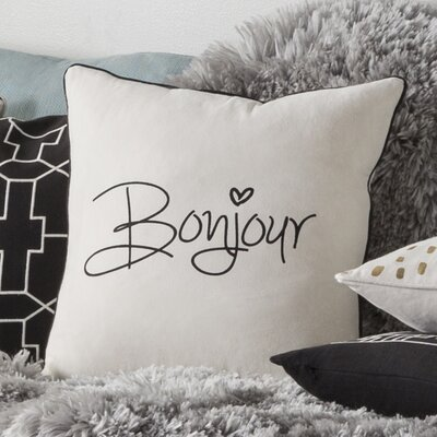 Carnell Bonjour Cotton Throw Pillow Cover Color: White/ Black