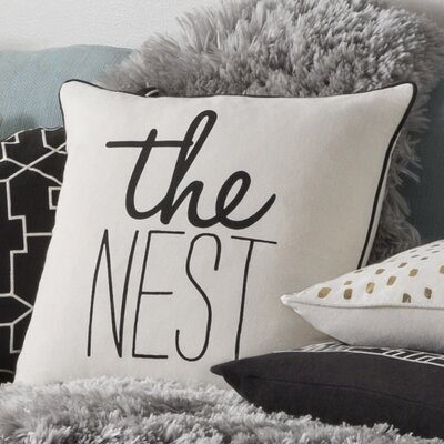 Carnell The Nest Square Cotton Throw Pillow Color: White/ Black