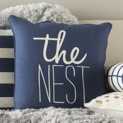 Carnell The Nest Square Cotton Throw Pillow Color: Navy/ White