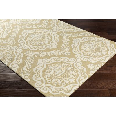 Ebling Hand-Tufted Straw/Ivory Area Rug Rug Size: Rectangle 76 x 96