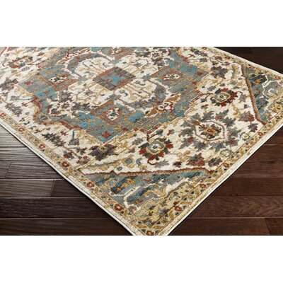 Nicea Ameilia Teal/Crimson Red Area Rug Rug Size: 53 x 73