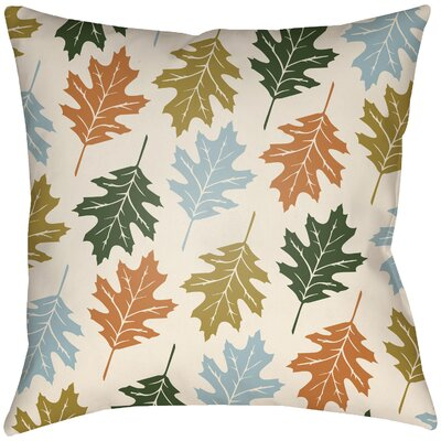 Lodge Cabin Autumn Indoor/Outdoor Throw Pillow Size: 18 H x 18 W, Color: Beige/Light Blue