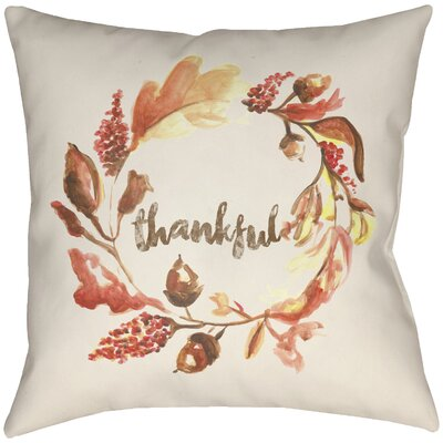 Lodge Cabin Thankful Indoor/Outdoor Throw Pillow Size: 26 H x 26 W