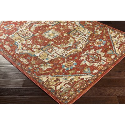 Eaglin Crimson Red/Teal Area Rug Rug Size: Rectangle 53 x 73
