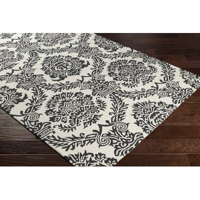 Kimmel Hand-Tufted Ivory/Onyx Black Area Rug Rug Size: Rectangle 5 x 76
